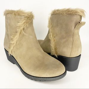 Adam Tucker Faux Fur Trimmed wedge Botties New